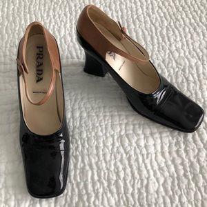 Prada black patent strap heels 7.5 fits like a 7